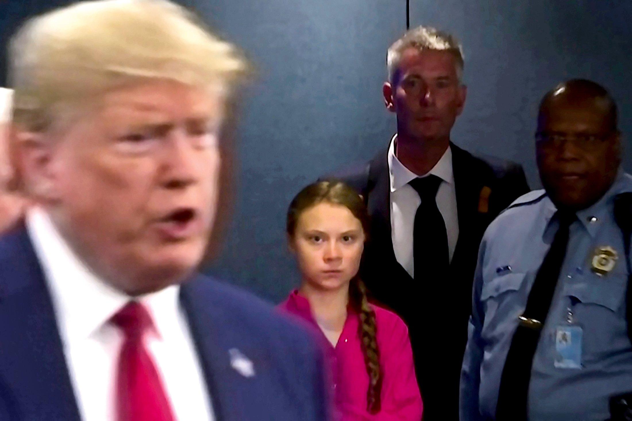 <p>GEGENSÄTZE<br /> Greta lehnt es ab, mit Donald Trump zu sprechen – es hätte keinen Sinn, sagt sie. Bei den Vereinten Nationen in New York trafen sie aufeinander. Ihr Blick spricht Bände</p>