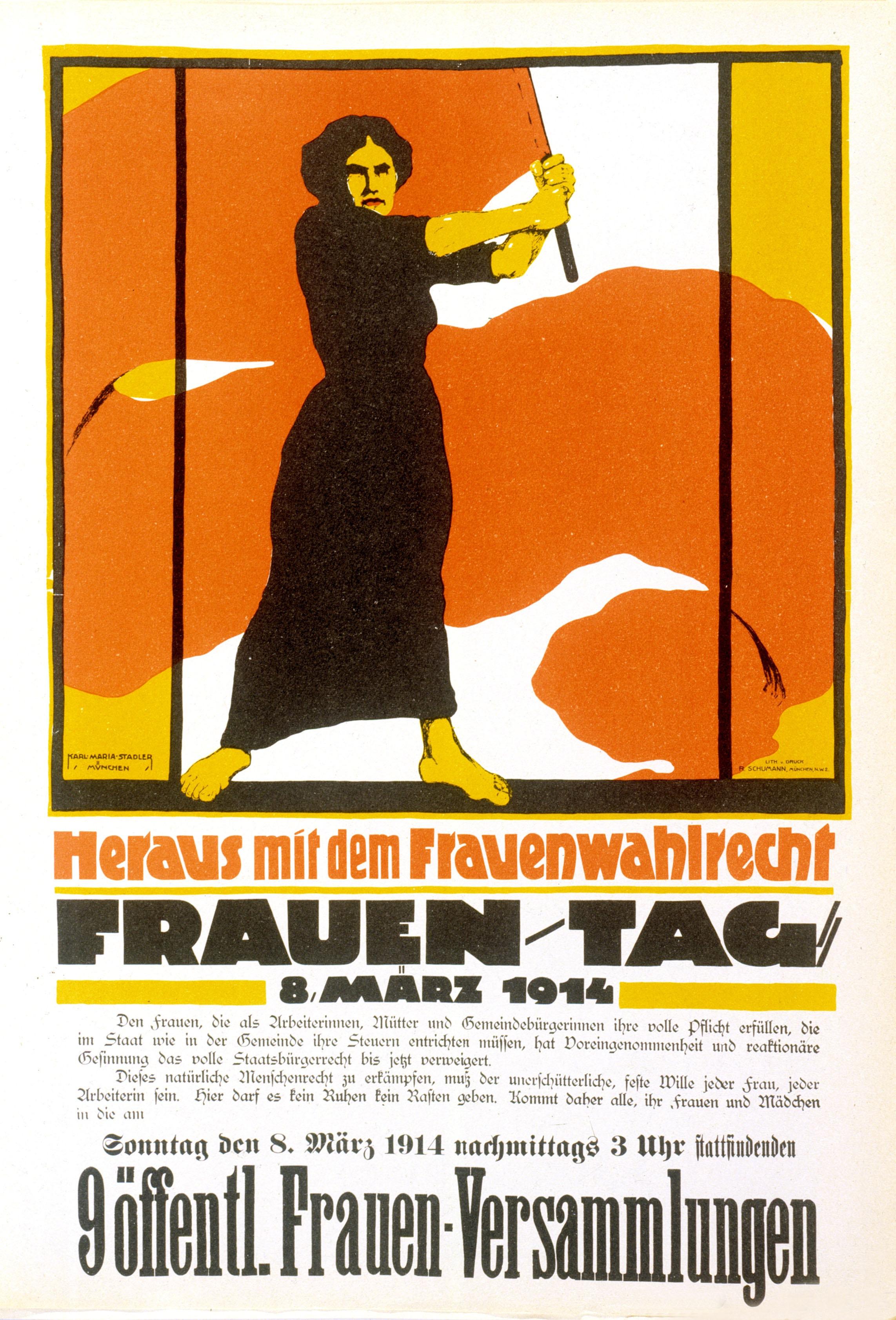 """<p>Das historische Plakat """"Heraus mit dem Frauenwahlrecht"""" sollte für die """"Rote Woche"""" am 8.-15. März 1914 mobilisieren. Der Plakat-Entwurf stammt von Karl Maria Stadler.</p>"""