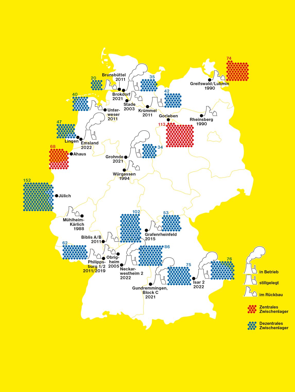 STRAHLENDE HINTERLASSENSCHAFTENWo stehen die deutschen Atomkraftwerke und wie lange sind sie noch am Netz? Wo lagert der hochradioaktive Müll? Wie viele Castorbehälter befinden sich in den jeweiligen Zwischenlagern? Ein Überblick