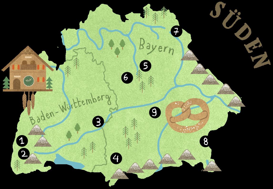 <p>Erlangen liegt in Mittelfranken in Bayern und ist eine der Stationen auf unserer Reise zu vorbildlichen Kommunen, auf der Karte von Deutschlands Süden mit der Nummer 5 markiert</p>